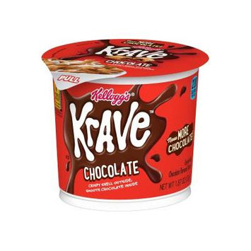 (6 Pack) Kellogg's Krave Breakfast Cereal, Chocolate, 1.87 Oz, Cup