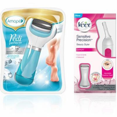 3 Pack - Amope Pedi Perfect Electronic Foot File (Regular Coarse) & Veet Sensitive Precision Beauty Styler For Eyebrows,