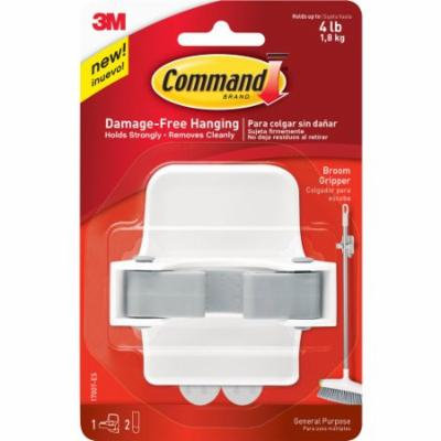 Command Broom Gripper, Clear (Pack of 20)