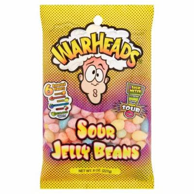 (6 Pack) Warheads, 6 Assorted Flavors Sour Jelly Beans, 8 Oz