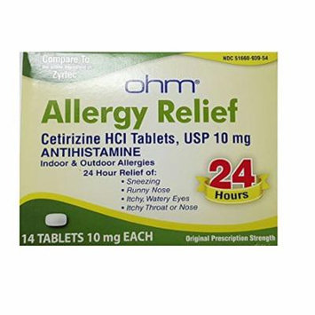 Ohm Cetirizine Hci Antihistamine 10mg 24HR Allergy Relief 14 Tablets Each