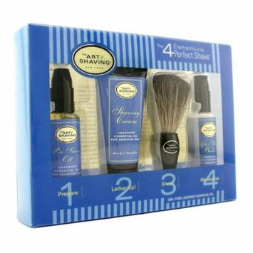 Starter Kit - Lavender: Pre Shave Oil + Shaving Cream + Brush + After Shave Balm-4pcs