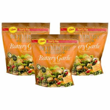 (3 Pack) Rothbury Farms Buttery Garlic Croutons (12.0 oz Family Size Package)