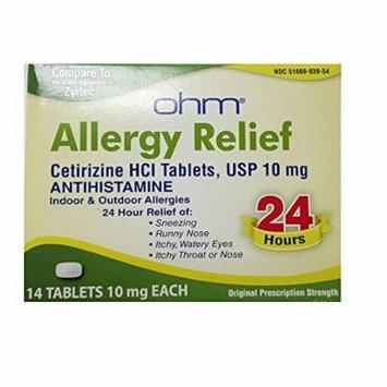 2 Pack Ohm Cetirizine Hci Antihistamine 10mg 24HR Allergy Relief 14 Tablets Each