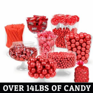 Red Candy Buffet - (Approx 14lbs) Includes Hershey's Kisses, Kit Kats, Sixlets, Gumballs, Dum Dum Lollipops & More