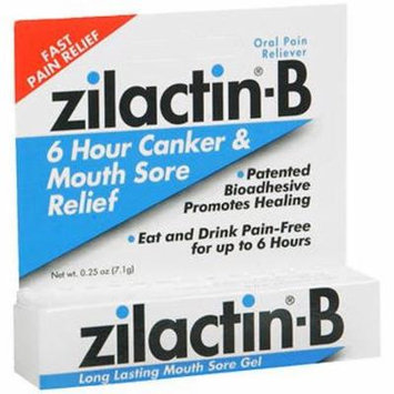 Zilactin-B Oral Pain Reliever Mouth Sore Gel, 0.25 oz (Pack of 20)