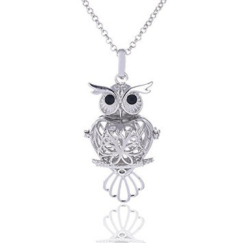 Vintage Antique Heart Owl Filigree Aromatherapy Essential Oil Diffuser Charms Pendant Perfume Oil Locket Necklace
