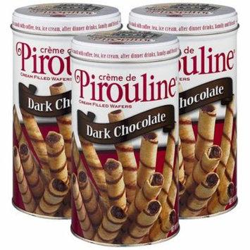 (3 Pack) Creme de Pirouline Dark Chocolate Rolled Wafer Cookies, 10 oz
