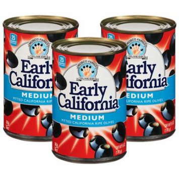(3 Pack) Early California Medium Pitted California Ripe Olives, 6 oz. Can