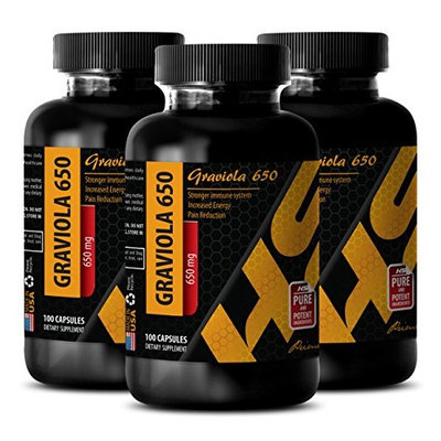 Kidney health supplements - GRAVIOLA EXTRACT - Pure soursop - 3 Bottles 300 Capsules