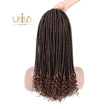 UNA 5Packs 20'' Goddess Faux Locs Crochet Hair Braids Curly Ends Wavy Synthetic Hair Extensions Dreadlocks Kanekalon Braiding Hair Havana Mambo Twist