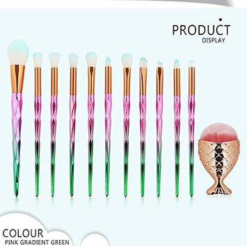 UPLOTER 12Pc Makeup Brushes Set Powder Foundation Eyeshadow Eyeliner Lip Cosmetic Brush