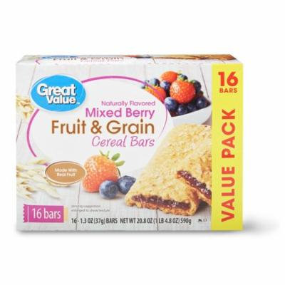 (2 Pack) Great Value Fruit & Grain Cereal Bars, Mixed Berry, 16 Count