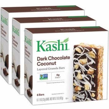 (3 Pack) Kashi, Dark Chocolate Coconut Layered, 1.1 Oz, 6 Ct Granola Bars
