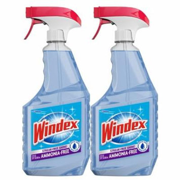 (2 Pack) Windex Ammonia-Free Glass Cleaner Trigger Bottle, Crystal Rain, 23 fl oz