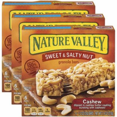 (3 Pack) Nature Valley Granola Bars Sweet and Salty Nut Cashew 6 Bars - 1.2 oz