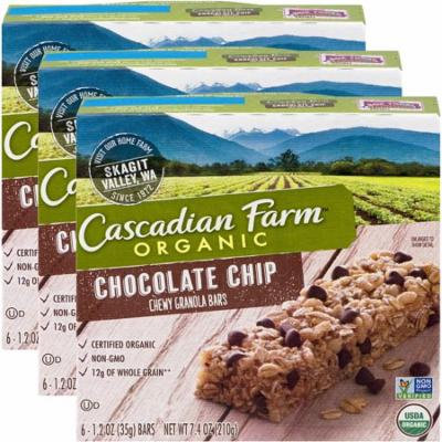 (3 Pack) Cascadian Farm Organic Granola Bars Chocolate Chip Chewy 6 Bars
