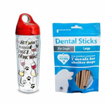 Tervis Project Paws I Just Want to Rescue Dogs & Drink Wine 24 oz Water Bottle with red lid with Dental Sticks Large