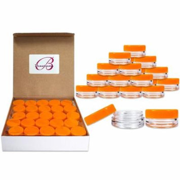 Beauticom 500 Pieces High Quality 3 Gram 3 ml (0.1 oz) Plastic Round Cosmetic Beauty Makeup Sample Jars (Orange Lid)
