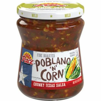 (2 Pack) Pace Fire Roasted Poblano 'N' Corn Salsa, Mild, 15 oz. Glass Jar