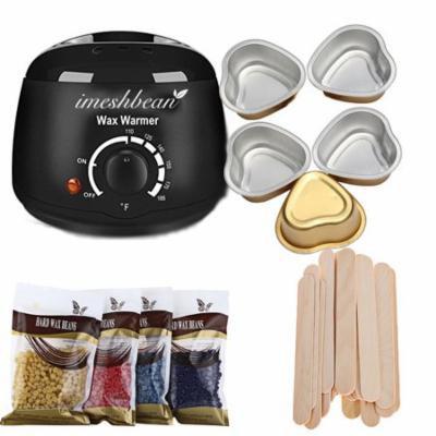iMeshbean Wax Warmer Heater Pot Machine + 400g Waxing Beans + 20pcs Hair Removal Sticks, Black