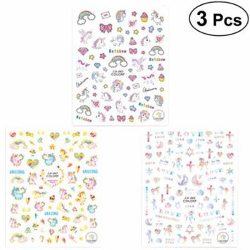 3pcs Nail Decals Unicorns Nail Stickers Nail Art Tip Decal Manicure Decoration for Women (CA065+CA066+CA067)
