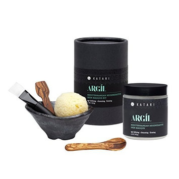 Facial mask complete system by Katari – Argil 4oz Masque and 5-piece handmade accessories - Anti-aging, deep cleansing - Timeless - Pure - Elemental Tunisian Green clay masque with mixing bowl set