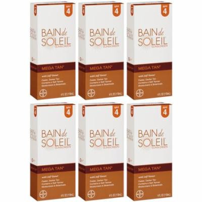 6 Pack Bain De Soleil Mega Tan SPF 4 with Self Tanner 4oz Each
