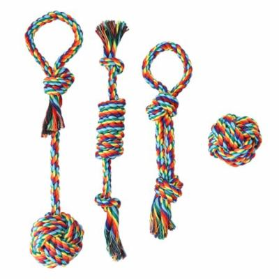 4pcs Puppy Dog Pet Toy Cotton Braided Rope Chew Knot Biting Teeth Chewing Toys for Pets Dogs