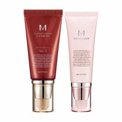 Missha M Perfect Cover BB Cream # No.21 Light Beige 50ml + M BB Boomer 40ml set