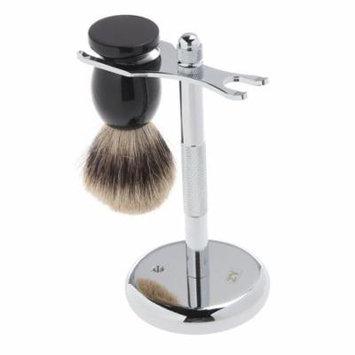 2pcs Badger Hair Shaving Brush & Shaving Stand Set Chrome Stand Wooden Brush