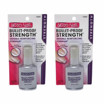 Nutra Nail Bullet-Proof Stength Formula + High Gloss Top Coat (Pack of 2) + Makeup Blender Sponge