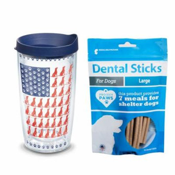 Tervis Project Paws Dog Flag 16 oz Tumbler with navy lid with Dental Sticks Large