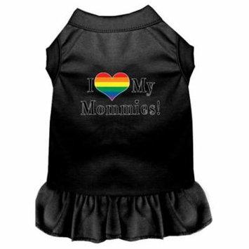 I Heart my Mommies Screen Print Dog Dress Black XXL