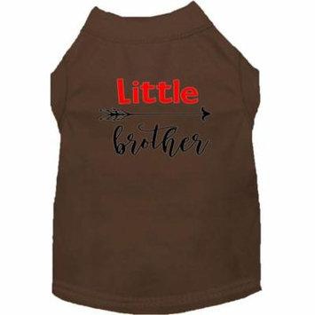 Little Brother Screen Print Dog Shirt Brown Lg