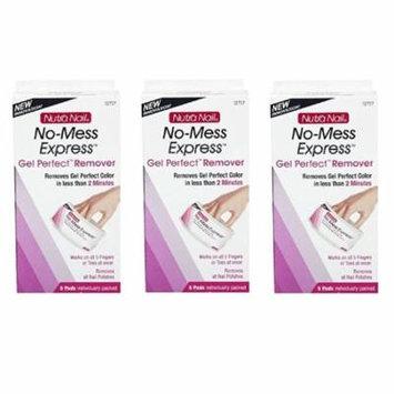 Nutra Nail No-Mess Express Nail Polish & Gel Perfect Remover, 5 Pads (Pack of 3) + Makeup Blender Sponge