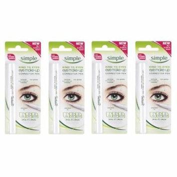 Simple Kind To Eyes Eye Make-up Corrector Pen, Fixes Makeup Mistakes (Pack of 4) + Makeup Blender Sponge
