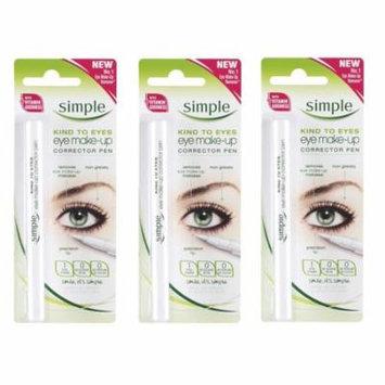 Simple Kind To Eyes Eye Make-up Corrector Pen, Fixes Makeup Mistakes (Pack of 3) + Makeup Blender Sponge