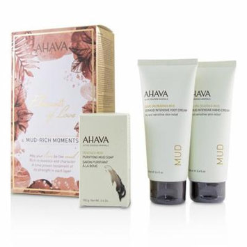 Ahava Elements Of Love Mud-Rich Moments Gift Set: Hand Cream 100ml + Foot Cream 100ml + Purifying Mud Soap 100g 3pcs Skincare