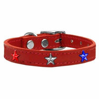 Red, White and Blue Star Widget Genuine Leather Dog Collar Red 14
