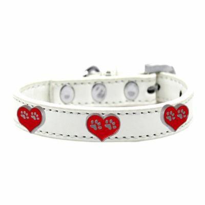 Paw Heart Widget Dog Collar White Size 16