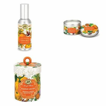 Michel Design Works Triple Milled 3-Piece Shea Butter Soap Gift Set Fragrance Spray and Travel Canldle - Pumpkin Melody