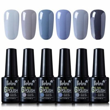 Belen 6 Colors Soak Off Gel Nail Polish UV LED Manicure 10ml Grey Colour Set