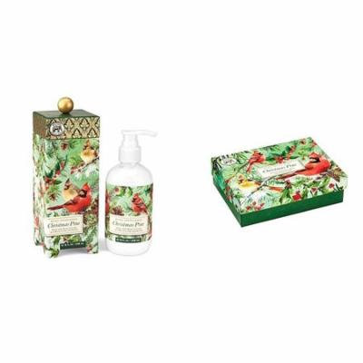 Michel Design Works Triple Milled Shea Butter Double Soap Boxed Gift Set and Hand and Body Lotion - Christmas Pine