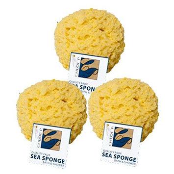 Set of 3 Faux Sea Natural Bath Sponges - Yellow (3)