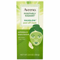 6 Pack - AVEENO Positively Radiant MaxGlow Peel Off Exfoliating Face Mask with Alpha Hydroxy Acids, Moisture Rich Soy &
