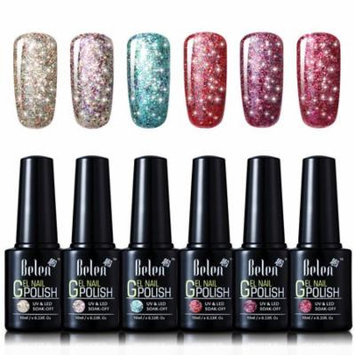 Belen 6 Colors Soak Off Gel Nail Polish UV LED Manicure 10ml Starry Gel Set