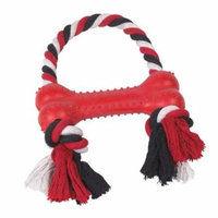 Rubber Bone Rope Handle Tug Toy For Dogs Strong Durable Dog Toys Red or Black (Red)