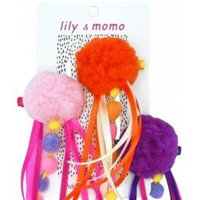 Pretty Pom Pom Trio Hair Clips - Girls, Toddlers Accessories - Tangerine, Purple and Pink - Non Slip Alligator Clips Suitable all Hair Types