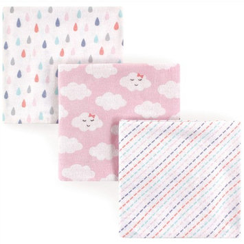 Luvable Friends Baby Boy and Girl Flannel Receiving Blanket, 3-Pack - Girl Clouds
